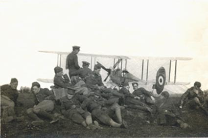 No 2 Sqn officers in front of a BE2a, April 1915