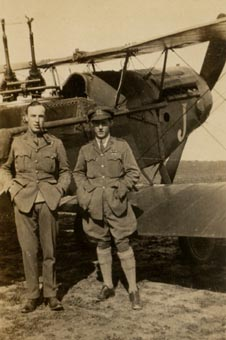 Capts Claye and Hughes, No 62 Sqn, in front of their Bristol fighter