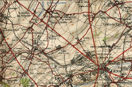 1916 map of the area around Loos